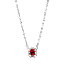 2.76 Carat Oval Spessarite Garnet with Diamond Halo White Gold Pendant Necklace