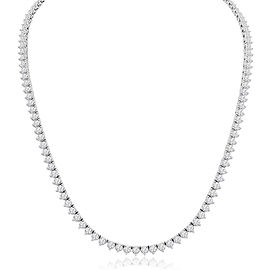 8.92 Carat Total Diamond White Gold 3-Prong Tennis Necklace