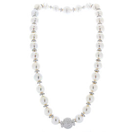 White South Sea Pearls and Diamond Necklace in 18 Karat White Gold