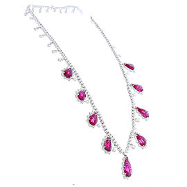 37.94 Carat Total Pear Shape Rubellite and Diamond Necklace in 18 Karat Gold