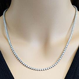 8.35 Carat Total Diamond 3-Prong Tennis Necklace in 14 Karat White Gold