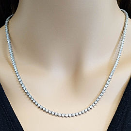 8.35 Carat Total Diamond 3-Prong Tennis Necklace in 14 Karat White Gold