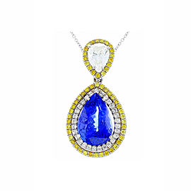 5.21 Carat Pear Shape Tanzanite, White & Yellow Diamond Pendant Necklace In 18K