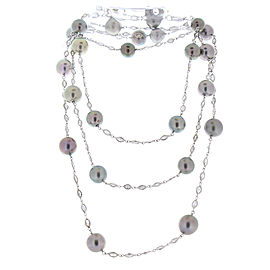 8.90 Carat Total Black Pearl and Marquise Diamond Necklace in White Gold