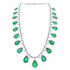 50.34 Carat Total Pear Shaped Emerald and Diamond Necklace in 18 Karat Gold