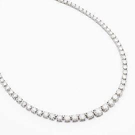 10.16 Carat Total Riviera Diamond Necklace in 14 Karat White Gold