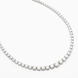 10.16 Carat Total Riviera Diamond Necklace in 14 Karat White Gold