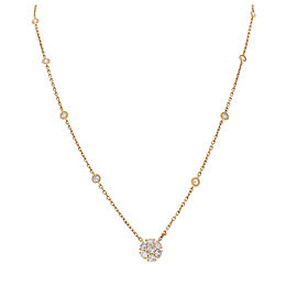 0.80 Carat Total Diamond Flower Necklace in 14 Karat Yellow Gold