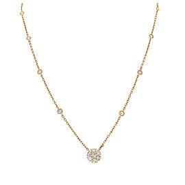 0.80 Carat Total Diamond Flower Necklace in 14 Karat Yellow Gold