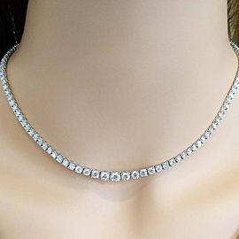 9.20 Carat Total Diamond Riviera Necklace in 18 Karat White Gold