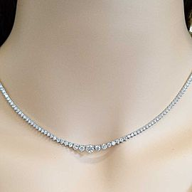 5.40 Carat Total 3 Prong Diamond Riviera Necklace in 14 Karat White Gold