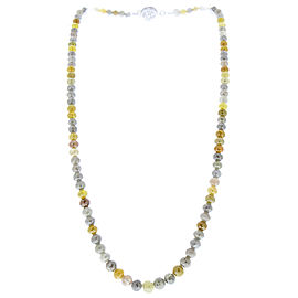96.00 Carat Total Faceted Rough Cut Diamond Necklace in 14 Karat White Gold