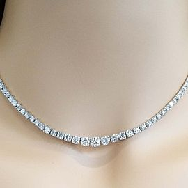 9.02 Carat Total Diamond Riviera Necklace in 18 Karat White Gold