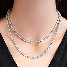 33.52 Carat Total Diamond Tennis Necklace in 18 Karat White Gold