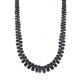85 Carat Total Briolette Black Diamond Necklace in 14 Karat White Gold