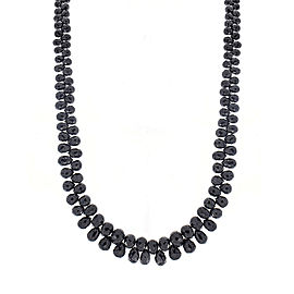 85 Carat Total Briolette Black Diamond Necklace in 14 Karat White Gold