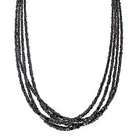 84 Carat Total Square Black Diamond Multi Strand Necklace in 14 Karat White Gold