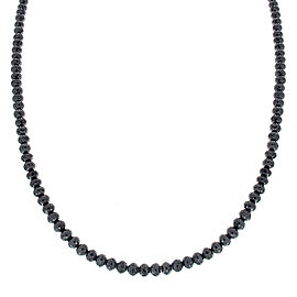 53 Carat Total Briolette Black Diamond Necklace in 14 Karat White Gold
