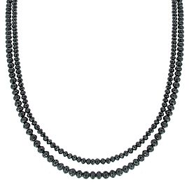 87.00 Carat Total Briolette Black Diamond Necklace in 14 Karat White Gold