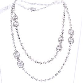 7.86 Carat Total Baguette and Round Diamond Necklace in 18 Karat White Gold