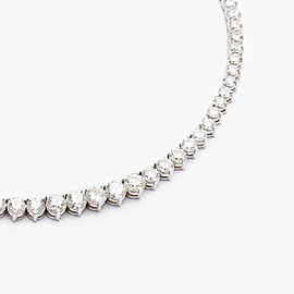 11.55 Carat Total Diamond 3 Prong Tennis Necklace in 18 Karat White Gold