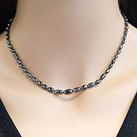 55.00 Carat Total Black Diamond Necklace in 14 Karat White Gold