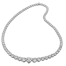 9.03 Carat Total Diamond Riviera Necklace in 18 Karat White Gold