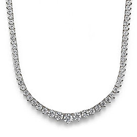7.02 Carat Total Diamond Riviera Necklace in 18 Karat White Gold