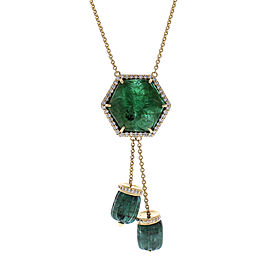29.50 Carat Total Carved Emerald and Diamond Pendant Necklace in 18 Karat Gold