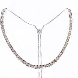 6.60 Carat Total Diamond Adjustable Tennis Necklace in 14 Karat White Gold