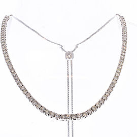 6.60 Carat Total Diamond Adjustable Tennis Necklace in 14 Karat White Gold