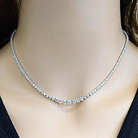 7.01 Carat Total Diamond Graduated Riviera Necklace in 18 Karat White Gold