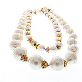 Australian South Sea Pearl and Diamond Necklace with 18 Karat White Gold Clasp