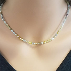 50 Carat Total Multi-Color Diamond Briolette Necklace in 14 Karat Yellow Gold
