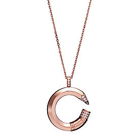 Tzuri 18k Rose Gold and Diamond Large C Necklace