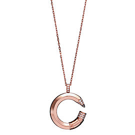 Tzuri 18k Rose Gold and Diamond Medium C Necklace