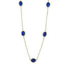 18k Yg 7 Oval Smooth Top Lapis and Crystal With Pol Yg Prongs and Chain, No Diamond Tivoli Necklace