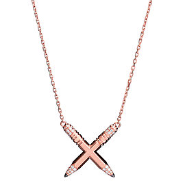 Tzuri 18k Rose Gold and Diamond X Necklace