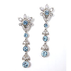 Tiffany & Co. Garland Platinum PT950 Aquamarine Diamond Drop Dangle Earrings