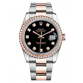 Rolex New Style Datejust Rose Two Tone Custom Diamond Bezel & Black Diamond Dial on Oyster Bracelet 36mm Unisex Watch