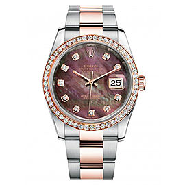 Rolex New Style Datejust Rose Two Tone Custom Diamond Bezel & Black Mother of Pearl Diamond Dial on Oyster Bracelet 36mm Unisex Watch