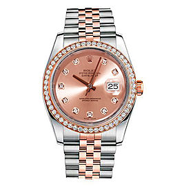 Rolex New Style Datejust Rose Two Tone Custom Diamond Bezel & Champagne Diamond Dial on Jubilee Bracelet 36mm Unisex Watch