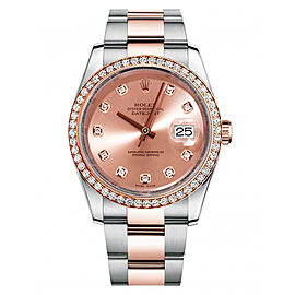 Rolex New Style Datejust Rose Two Tone Custom Diamond Bezel & Champagne Diamond Dial on Oyster Bracelet 36mm Unisex Watch
