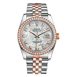 Rolex New Style Datejust Rose Two Tone Custom Diamond Bezel & Mother of Pearl Diamond Dial on Jubilee Bracelet 36mm Unisex Watch
