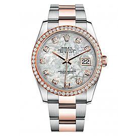 Rolex New Style Datejust Rose Two Tone Custom Diamond Bezel & Mother of Pearl Diamond Dial on Oyster Bracelet 36mm Unisex Watch