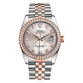 Rolex New Style Datejust Rose Two Tone Custom Diamond Bezel & Silver Diamond Dial on Jubilee Bracelet 36mm Unisex Watch