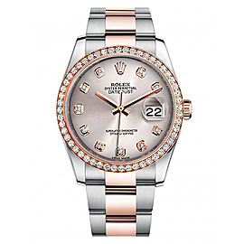 Rolex New Style Datejust Rose Two Tone Custom Diamond Bezel & Silver Diamond Dial on Oyster Bracelet 36mm Unisex Watch