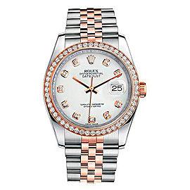 Rolex New Style Datejust Rose Two Tone Custom Diamond Bezel & White Diamond Dial on Jubilee Bracelet 36mm Unisex Watch