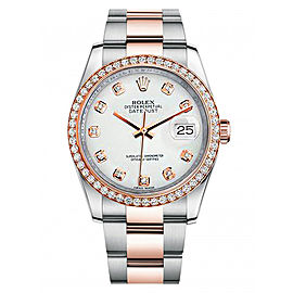 Rolex New Style Datejust Rose Two Tone Custom Diamond Bezel & White Diamond Dial on Oyster Bracelet 36mm Unisex Watch