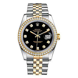 Rolex New Style Datejust Two Tone Custom Diamond Bezel & Black Diamond Dial on Jubilee Bracelet 36mm Unisex Watch